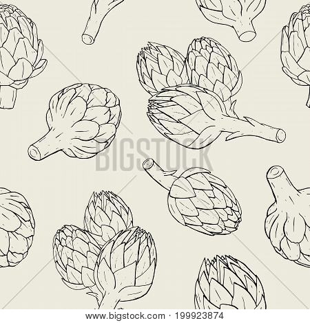 Artichoke seamless pattern with hand drawn plant. Contour vector illustration.