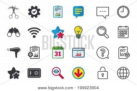 Hotel services icons. Wi-fi, Hairdryer and deposit lock in room signs. Wireless Network. Hairdresser or barbershop symbol. Chat, Report and Calendar signs. Stars, Statistics and Download icons