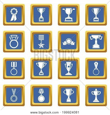 Trophy icons set in blue color isolated vector illustration for web and any design