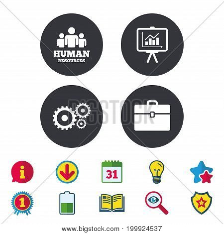 Human resources and Business icons. Presentation board with charts signs. Case and gear symbols. Calendar, Information and Download signs. Stars, Award and Book icons. Light bulb, Shield and Search