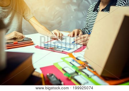 Business Woman With Colleague Hardworking Of Work At Home Office Delivery Product Service Checking P