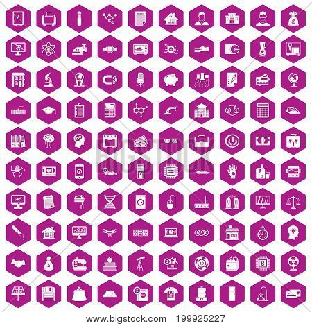 100 loans icons set in violet hexagon isolated vector illustration