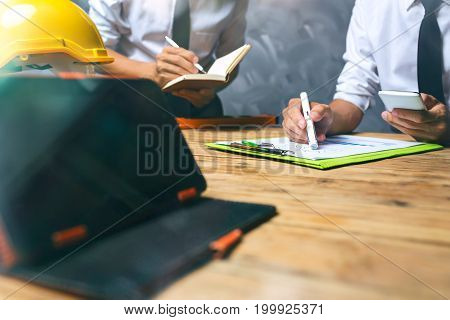 Team Of Business Financial Man Calculating Tax Product Payment Of New Small Business Data Statistics