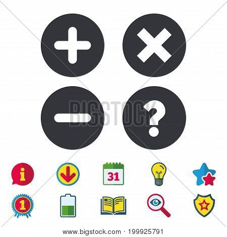 Plus and minus icons. Delete and question FAQ mark signs. Enlarge zoom symbol. Calendar, Information and Download signs. Stars, Award and Book icons. Light bulb, Shield and Search. Vector