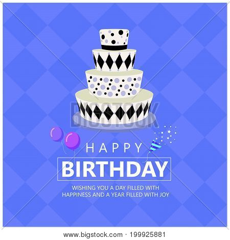 Happy birthday with Funky cake and Greetings text on soft purple Diamond background vector design