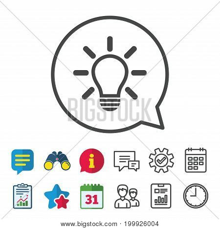 Light lamp sign icon. Idea symbol. Light is on. Information, Report and Calendar signs. Group, Service and Chat line icons. Vector