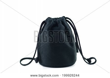 the black cloth bag with swiping line on white background