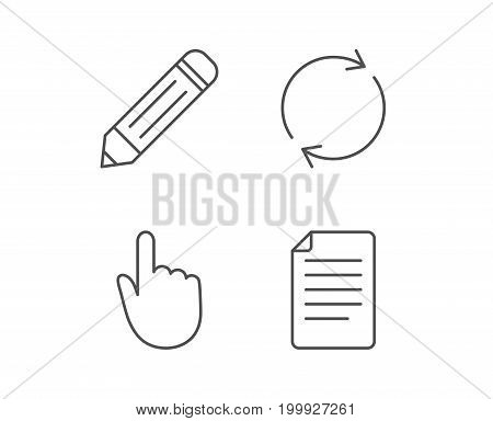 Document file, Edit and Refresh line icons. Hand cursor sign. Quality design elements. Editable stroke. Vector