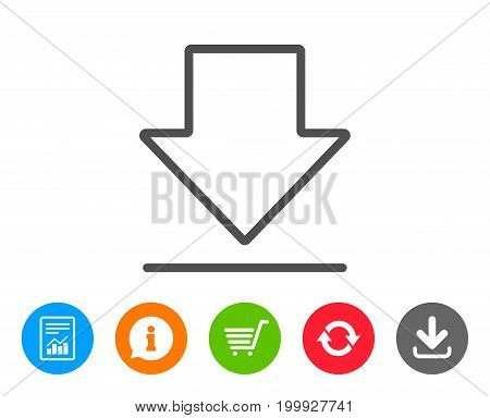 Download line icon. Internet Downloading sign. Load file symbol. Report, Information and Refresh line signs. Shopping cart and Download icons. Editable stroke. Vector
