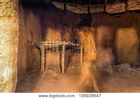 Interior Of African Traditional, Tribal House, Kenya
