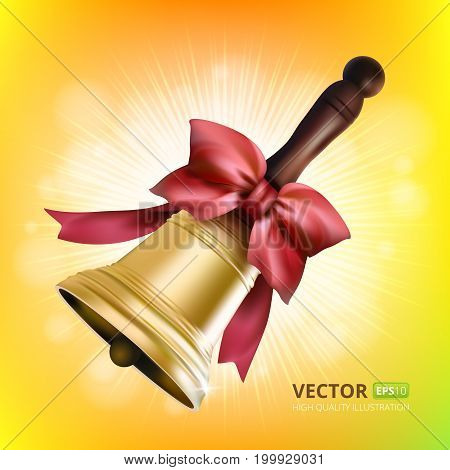 Golden school metal bell with red bow  and wooden handle isolated on colorful background. Vector illustration to first september - beginning of the school year