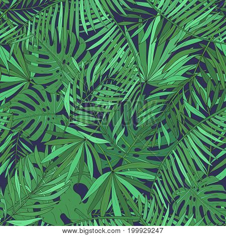 Seamless pattern with tropical palm leaves. Green exotic background