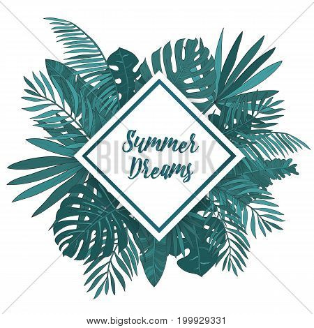 Frame with tropical palm leaves. Green exotic background with rhomb place for text