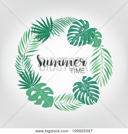 Round frame with tropical palm leaves. exotic background with place for text