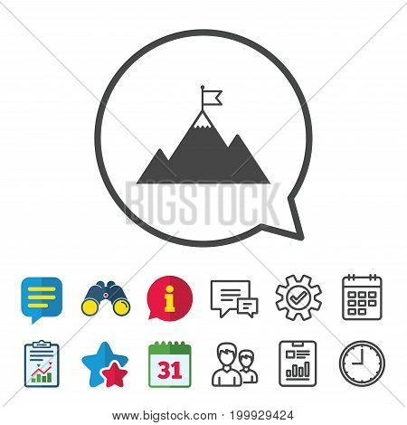 Flag on mountain icon. Leadership motivation sign. Mountaineering symbol. Information, Report and Calendar signs. Group, Service and Chat line icons. Vector
