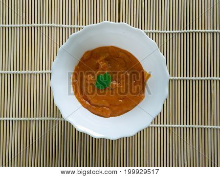 Rouille French sauce.served as a garnish with fish fish soup and notably bouillabaiss