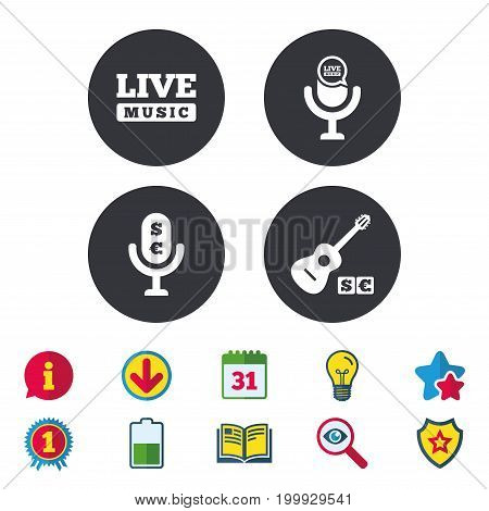 Musical elements icons. Microphone and Live music symbols. Paid music and acoustic guitar signs. Calendar, Information and Download signs. Stars, Award and Book icons. Light bulb, Shield and Search