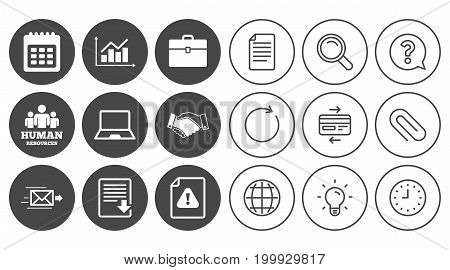 Office, documents and business icons. Human resources, handshake and download signs. Chart, laptop and calendar symbols. Document, Globe and Clock line signs. Lamp, Magnifier and Paper clip icons