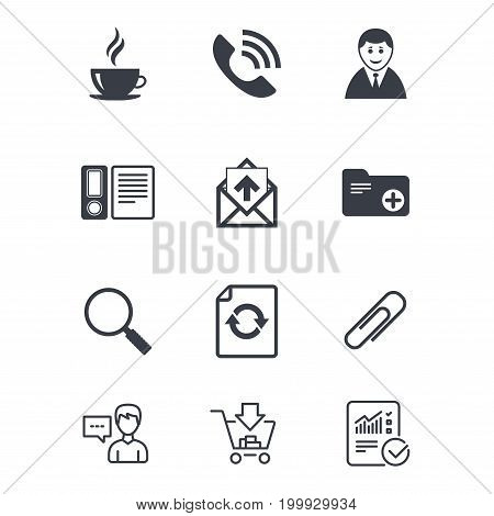 Office, documents and business icons. Coffee, phone call and businessman signs. Safety pin, magnifier and mail symbols. Customer service, Shopping cart and Report line signs. Vector