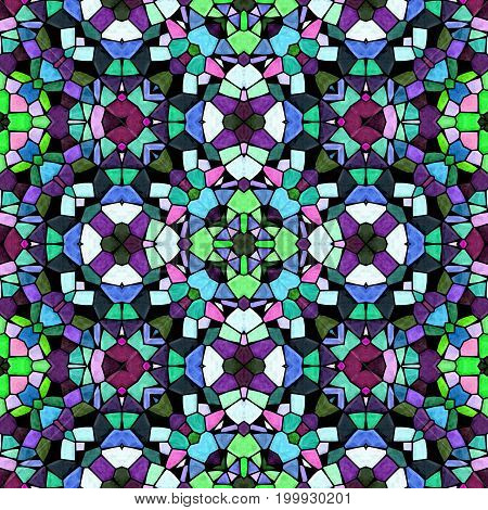 mosaic kaleidoscope seamless pattern texture background - dark full colored with black grout