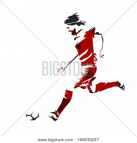Soccer player is running with ball abstract footballer illustration vector silhouette