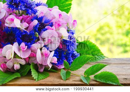 Summer fragrant bouquet of cornflowers and sweet peas on wooden table near window greeting card