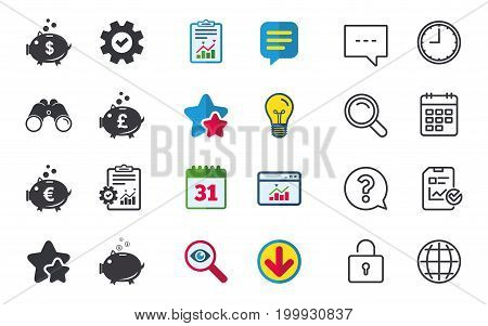 Piggy bank icons. Dollar, Euro and Pound moneybox signs. Cash coin money symbols. Chat, Report and Calendar signs. Stars, Statistics and Download icons. Question, Clock and Globe. Vector