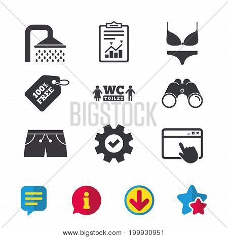 Swimming pool icons. Shower water drops and swimwear symbols. WC Toilet sign. Trunks and women underwear. Browser window, Report and Service signs. Binoculars, Information and Download icons. Vector