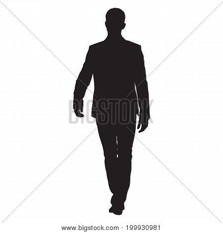 Businessman in suit walking forward vector silhouette