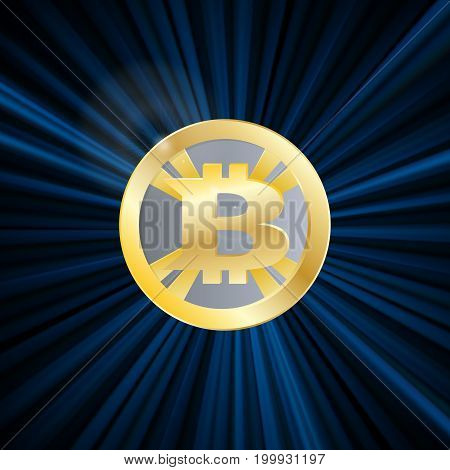 Crypto Currency, Bitcoin, Gold, Symbol, Rays