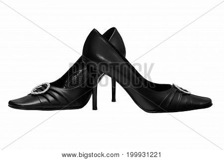 Black women's shoes on a white background (including clipping path).