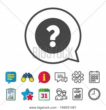 Question mark sign icon. Help symbol. FAQ sign. Information, Report and Calendar signs. Group, Service and Chat line icons. Vector