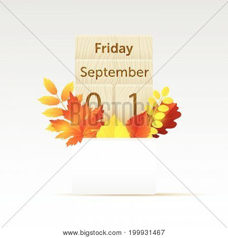 Vector illustration realistic calendar mock up with bright autumn leaves. First day of Autumn.