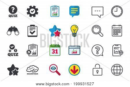 Quiz icons. Human brain think. Checklist with check mark symbol. Survey poll or questionnaire feedback form sign. Chat, Report and Calendar signs. Stars, Statistics and Download icons. Vector