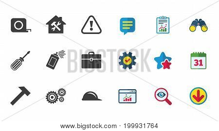 Repair, construction icons. Helmet, screwdriver and hammer signs. Gears, painting spray and attention symbols. Calendar, Report and Download signs. Stars, Service and Search icons. Vector