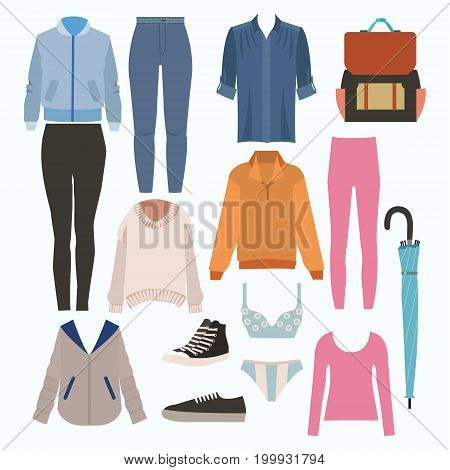 Lady fashion set of autumn season outfit. Illustration stylish and trendy clothing. Coat pants jeans blouse shirt shoes pants sweatshirt sneakers.