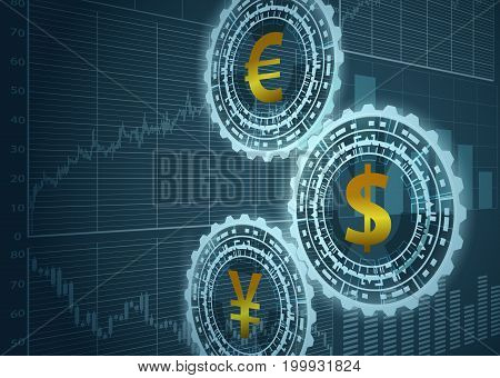 Currency symbols and graphs.Currency exchange concept. Vector illustration.