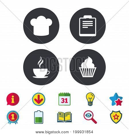 Coffee cup icon. Chef hat symbol. Muffin cupcake signs. Document file. Calendar, Information and Download signs. Stars, Award and Book icons. Light bulb, Shield and Search. Vector