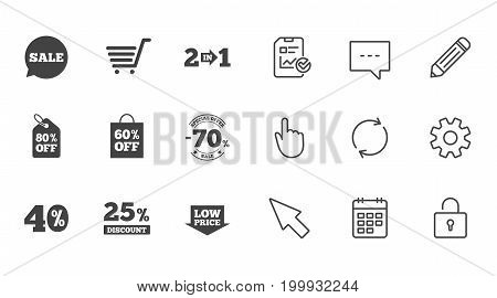 Sale discounts icon. Shopping cart, coupon and low price signs. 25, 40 and 60 percent off. Special offer symbols. Chat, Report and Calendar line signs. Service, Pencil and Locker icons. Vector