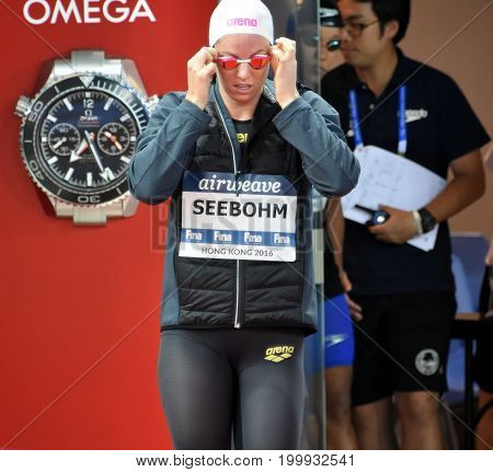 Hong Kong China - Oct 30 2016. Emily SEEBOHM (AUS) at the start of the Women's Individual Medley 100m Final. FINA Swimming World Cup Victoria Park Swimming Pool.