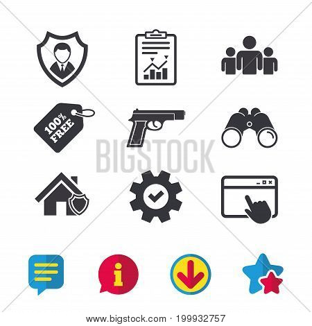 Security agency icons. Home shield protection symbols. Gun weapon sign. Group of people or Share. Browser window, Report and Service signs. Binoculars, Information and Download icons. Stars and Chat