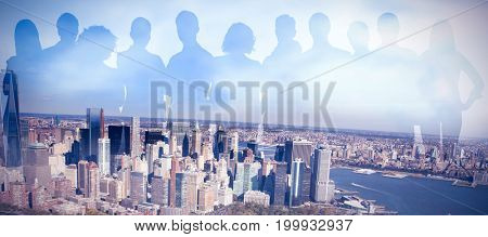 Business people on white background against high angle view of cityscape by river against sky