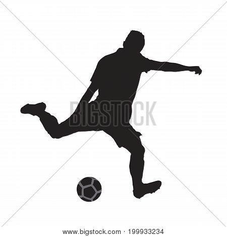 Soccer player kicking ball isolated vector silhouette. Footballer