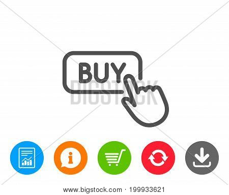 Click to Buy line icon. Online Shopping sign. E-commerce processing symbol. Report, Information and Refresh line signs. Shopping cart and Download icons. Editable stroke. Vector