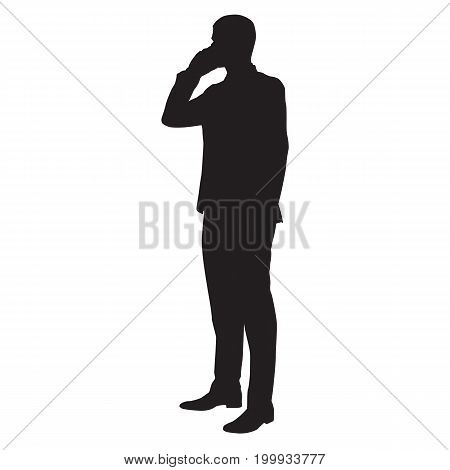 Working businessman with cell phone vector silhouette