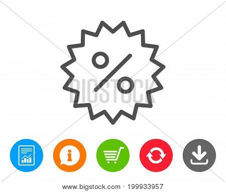 Discount or Sale line icon. Special offer sign. Shopping symbol. Report, Information and Refresh line signs. Shopping cart and Download icons. Editable stroke. Vector