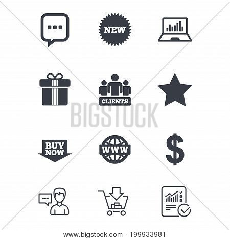 Online shopping, e-commerce and business icons. Gift box, chat message and star signs. Chart, dollar and clients symbols. Customer service, Shopping cart and Report line signs. Vector
