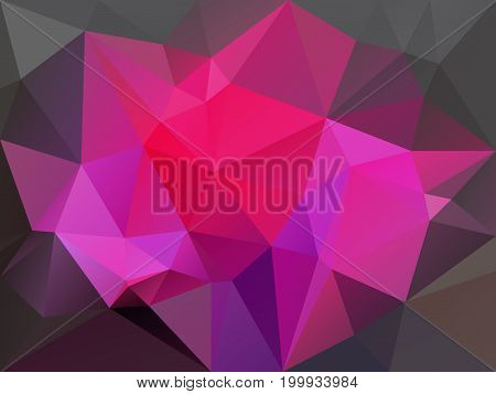 vector abstract irregular polygon background with a triangle pattern in hot pink and dark gray color