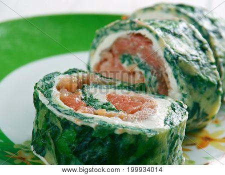 Courgette Herb Smoked Salmon Roulade   close up  prepared meal