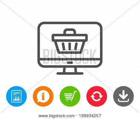 Online Shopping cart line icon. Monitor sign. Supermarket basket symbol. Report, Information and Refresh line signs. Shopping cart and Download icons. Editable stroke. Vector
